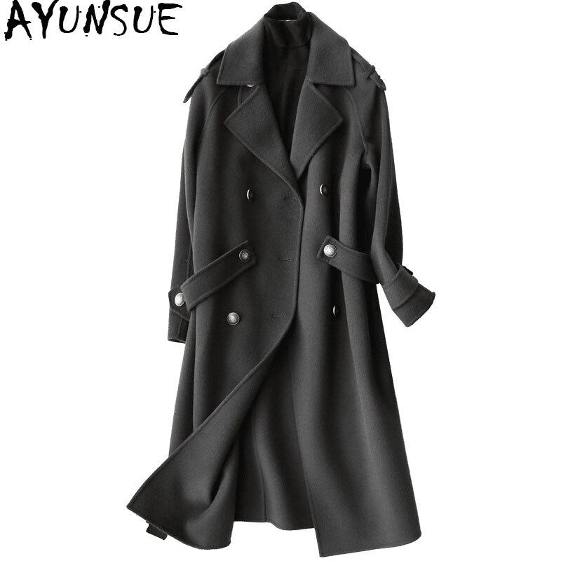 Ayunsue 2018 Мода 100% Шерстяное пальто женские осень-зима Длинные куртки Для женщин тренчи Женская одежда casaco feminino YQ1132