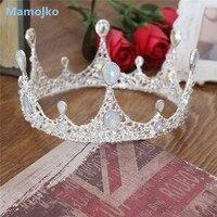 Mamojko Baroque Gold Silver Rhinestone Crystal Wedding Crown For Women Fashion Bride Tiara Jewelry Hair Dress