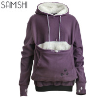 Saimishi Purple Embroidery Big Pocket Pullovers Women Sweatshirt 2017 Autumn Winter Warm Fashion With Cat Lovers