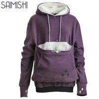 Saimishi Purple Embroidery Big Pocket Pullovers Women Sweatshirt 2017 Autumn Winter Warm Fashion With Cat Lovers