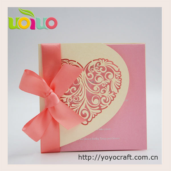 Nice light gold heart wedding invitation card various color
