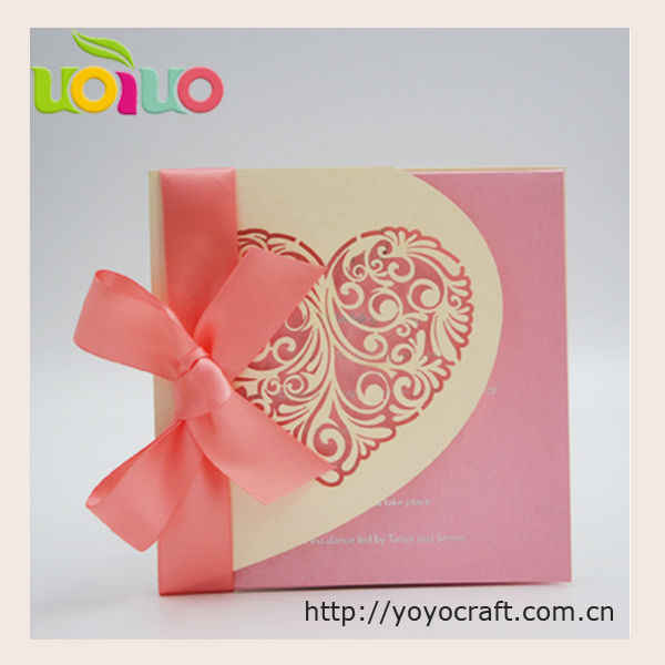 Nice Light Gold Heart Wedding Invitation Card Various Color Customize Emboss Letters Handmade Design