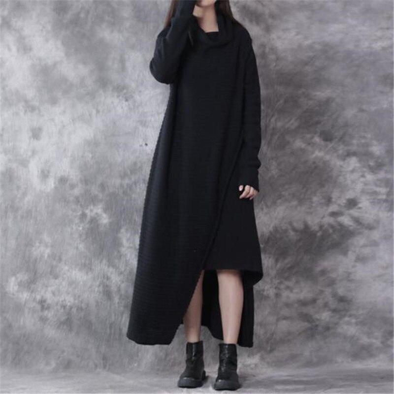 BUYKUD Casual Sweaters Maxi Dress Black Double Layer High Neck Long Sleeve Loose Irregular Sweaters Dress Split Irrgular Dress