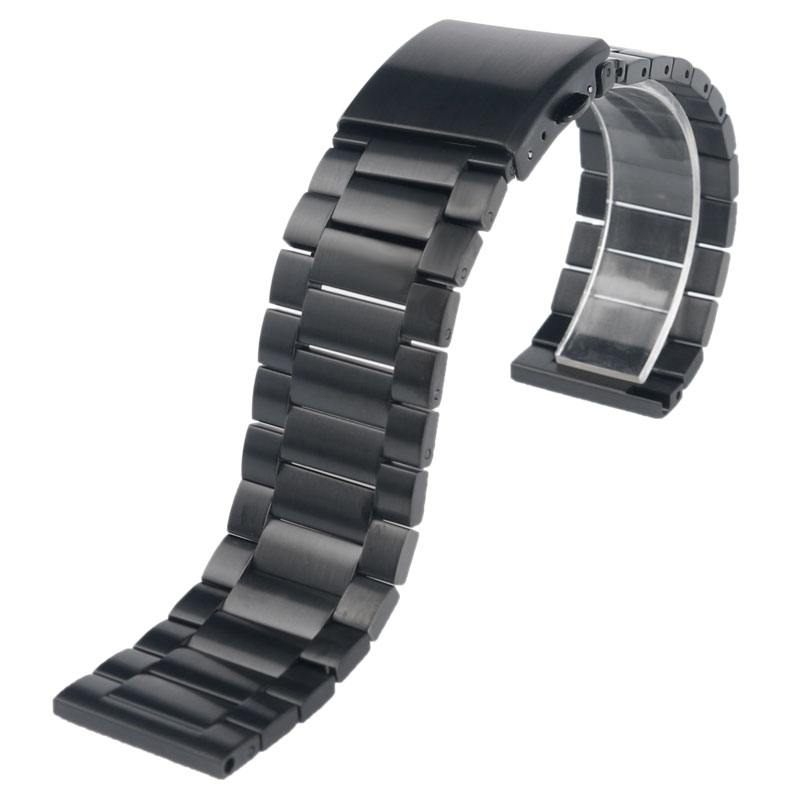 23mm Watchbands Black Solid Stainless Steel Link Wrist Watch Strap Men Women Bracelet Replace High Quality stylish 29 led 3 color light digit stainless steel bracelet wrist watch black