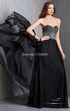 Heiße Art Spezielle Gelegenheit 2014 Schwarz Schatz-wulstige Brautkleider Chiffon Formale Abendkleider Party