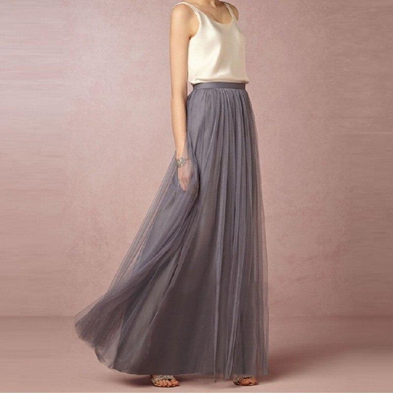 2019 Women Maxi Long Skirt Soft Tulle Skirts Elastic Waist Wedding Maxi Skirts Party Boho Vintage Summer Skirts Faldas Saia