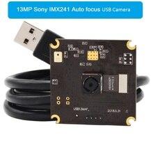 ELP Nenhuma Distorção 13MP IMX214 CMOS Mini Cor HD Webcam Autofocus Câmera USB Com Microfone da Placa do PWB