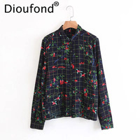 Dioufond Plaid Floral Print Ladies Tops Cotton Casual Long Sleeve Clothing Shirt Autumn Check Flower Women