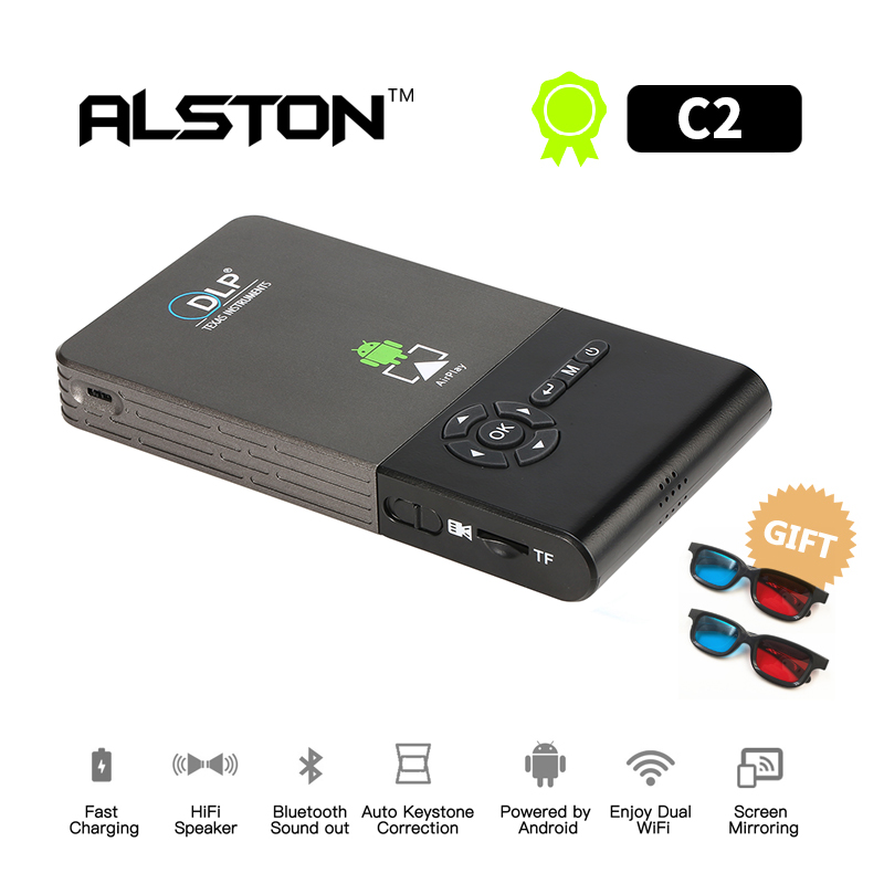 Mini Projector Bluetooth DLP Android 7.1 Beamer Support Wifi ALSTON Home Cinema Miracast