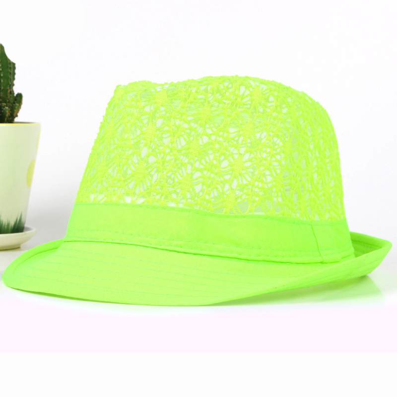 HT1581 Spring Summer Men Women Hat Unisex Wide Brim Fedora Hat Neon Colors  Derby Trilby Jazz Hat Breathable Hollow Beach Sun Hat-in Sun Hats from  Apparel ... 77cede8b7852