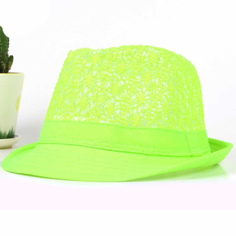 6bbe8a7eb94ce ... HT1581 Spring Summer Men Women Hat Unisex Wide Brim Fedora Hat Neon  Colors Derby Trilby Jazz ...