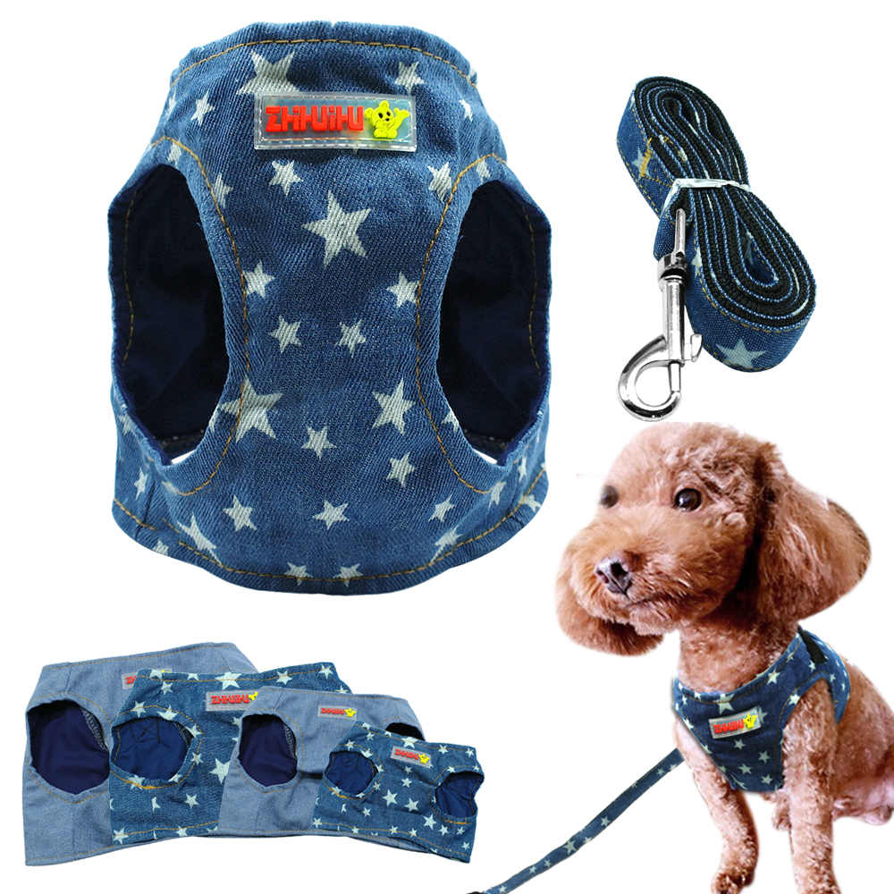 Denim Dog Harness Vest ja jalutusrihma mood kutsikas Pet Jacket Jean Star riided D ringiga sinine väikestele koertele Chihuahua