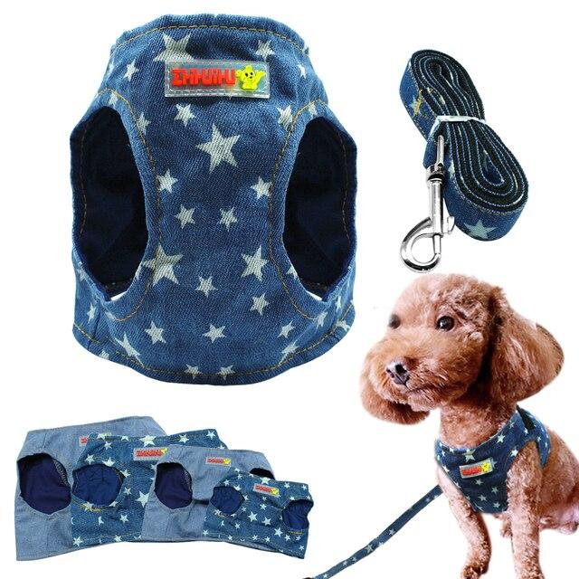 € 4.09 10% de réduction|Denim chien harnais gilet et laisse mode chiot Pet veste Jean Star vêtements avec D anneau bleu pour petits chiens chat
