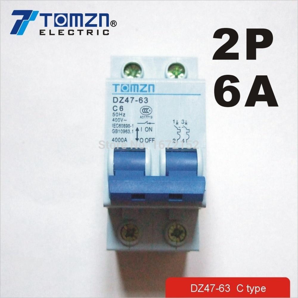2P 6A 400V~ 50HZ/60HZ Circuit breaker MCB safety breaker C TYPE 400 amp 3 pole cm1 type moulded case type circuit breaker mccb