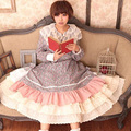 Japanese Women Sweet Cotton Linen Multilayer Lace Floral Stitching Embroidered Cute Kawaii Skirt Lolita Mori Girl Pleated H014