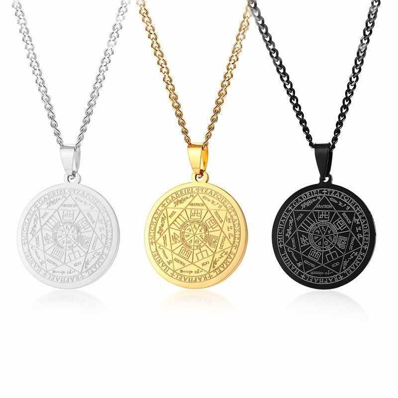 Męski naszyjnik ze stali nierdzewnej pieczęć siedmiu archaniołów salomon kabała wisiorek Amulet pieczęć biżuteria