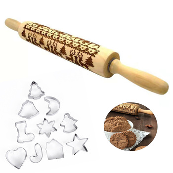 11pcs/pack Christmas Embossing Rolling Pin Baking Cookies Noodle Biscuit Fondant Cake Pasta Dough Xmas Engraved Rolling pin/mold 1