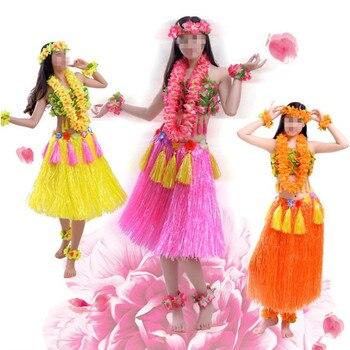 New Adult Women Hawaiian Flower Lei Headband Garland Bra Hula Skirts Fancy Dress Decoration Hawaii Party Favor 1