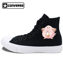 Design Black White Converse Shoes Chuck Taylor II Anime Pokemon Chansey Mens Womens Canvas Sneakers High Top Skateboarding Shoes