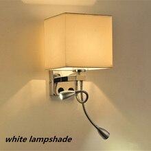 Современный Краткое Кровать Бра Ткань Тумбы Свет 1 Вт LED 1or2 пятно Света Настенный Светильник Кровать, Ночные Лампы Трубки Rocker Light Reading