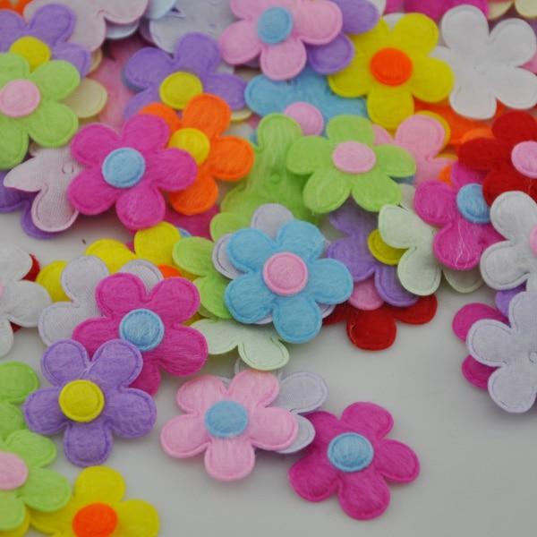 50PCS Padded Felt Flower Appliques 9 Color-Pick color B228
