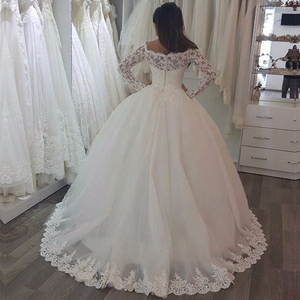 Image 2 - vestido de noiva Ball Gown Princess Wedding Dresses With Long Sleeves  Beaded Off the Shoulder Bridal Gowns robe de mariage