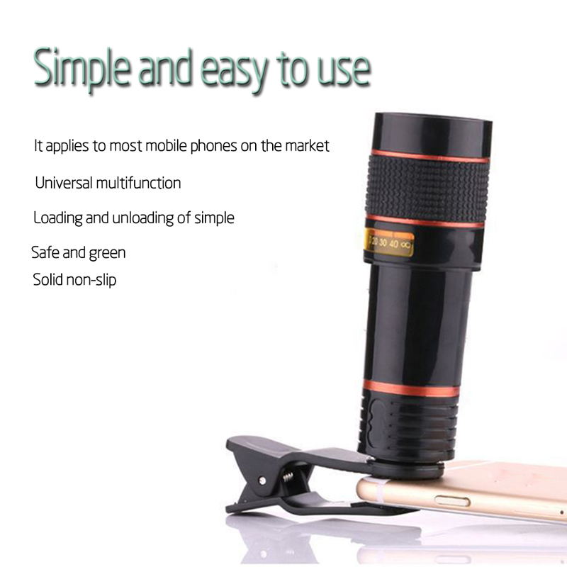 Clip-on 12x Optical Zoom Mobile Phone Telescope Lens HD Telescope Camera Lens For Universal Phones black one size 3