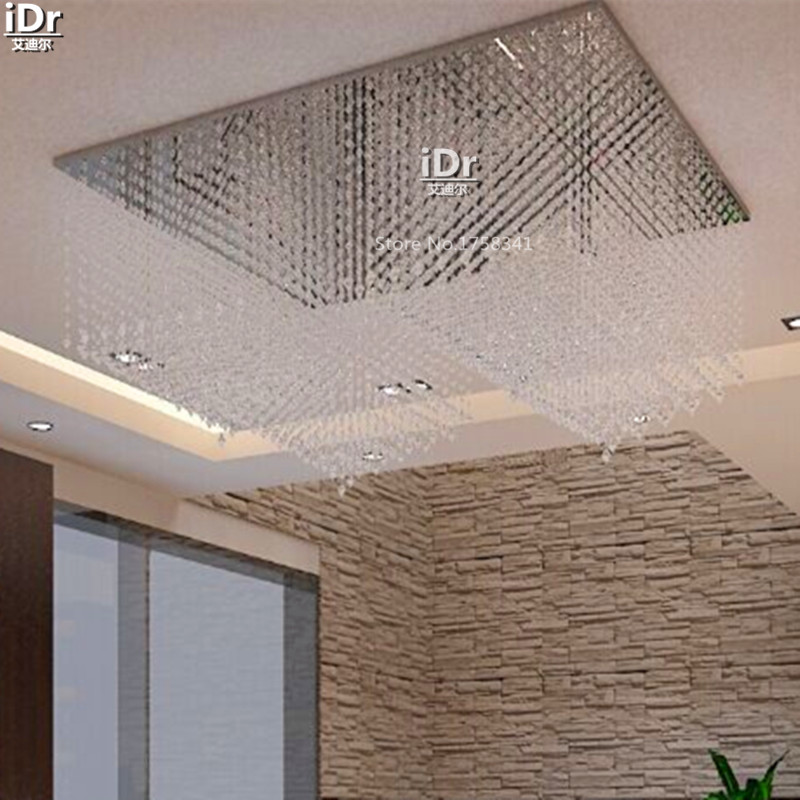 Contemporary The Lobby Living Room Lights Rectangular LED Crystal Lamp Restaurant Lighting Project Ceiling