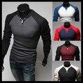 2014 populares de la manga completa camisas de hombre, o-cuello hombre de banda de ropa otoño apretada 5 colores eligen