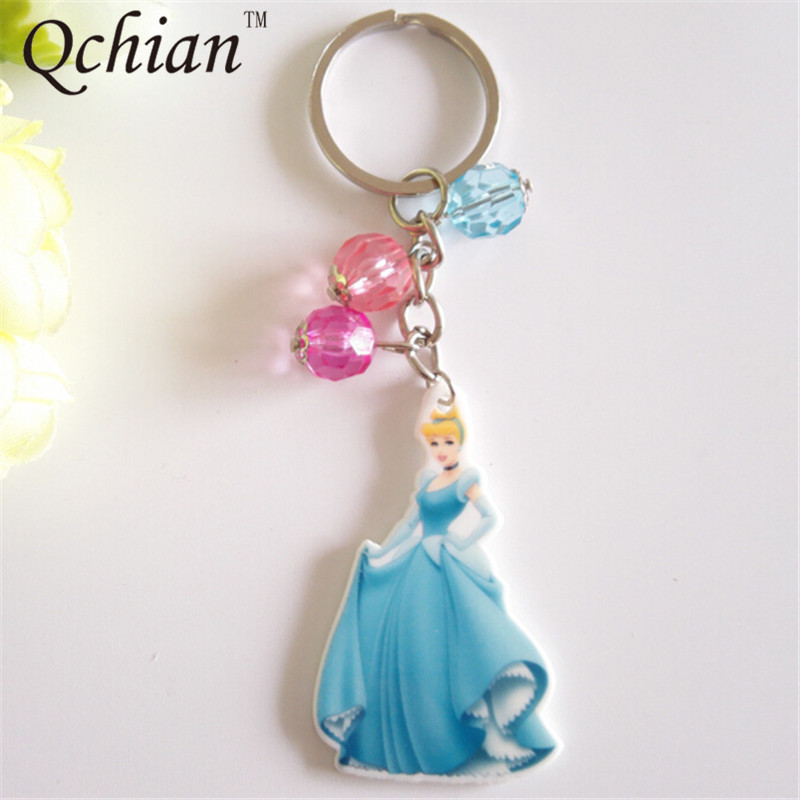 Belle Beauty and the Beast Yellow Glitter Keyring Bag Charm Decoration Princess