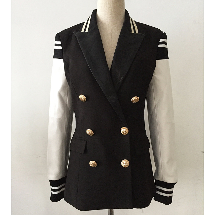 High-End Foreign Trade Women Jacket 2019 Threaded Cuff Stitching Double-Row Button Metal Lion Button Color Matching Suit Jacket