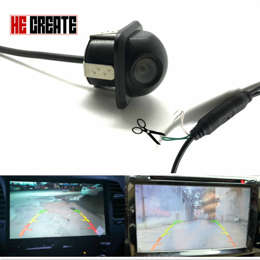 HE CREATE 2018 New Universal Vehicle Rearview Front Side Hd Ccd Car Rear View Camera Mirror Image Parking Line Convert Lines ...
