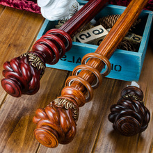 Wooden Curtain Rod Set Single And Double Pole Mute Track Aluminum Alloy European Classical Style