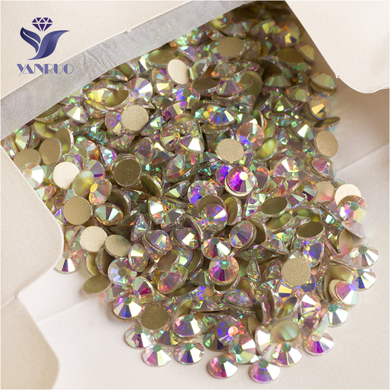 YANRUO 2058NoHF SS16 1440Pcs Crystal AB Rhinestone Loose Strass Lim På Flat Back Non Hotfix For Nail Art Shoes