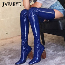 Clear Chunky Heel Over The Knee Boot Patent Leather Blue Stretch   Boots