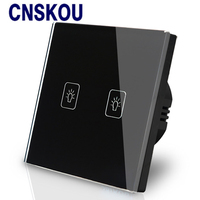 Cnskou EU Stangard Touch Switch For 220V Led White Crystal Glass Panel 1Gang 1Way Electronic Sensor