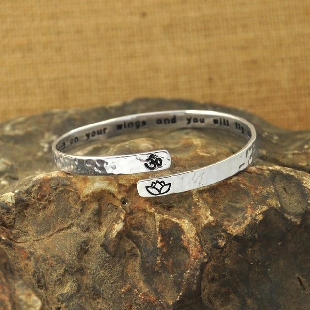 Custom Cuff Bracelet,I will write peace on your wings,secret message personalized custom quote bracelet, yoga bracelet