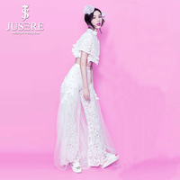 Hot Ivory Pants Suit For Bride Ladies Women Lace Wedding Party Bridal Gowns 2018 Two Pieces Back Tulle Shawl Satin Waistband