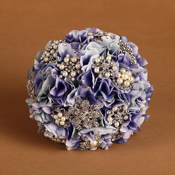 Фиолетовый жемчужный горный хрусталь искусственный свадебные букеты лаванда рамо Novia Mariage невесты Accessoires