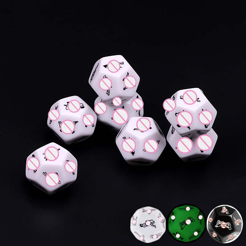 12 Side Funny Sex Dice Erotic Craps Sex Glow Dice Love Luminous Dices Toys For Adults Sex Toys Noctilucent Couples Dice Game