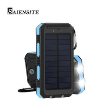 Saiensite 10000mah Solar Power Bank 2 USB External Solar Panel Charging with Dual LED Light Compass for Iphone Android
