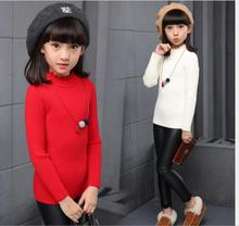 Thickening Sweater Cotton Casual pullover Knitted Sweaters O-Neck Solid Long Appliques Girl Clothing S050