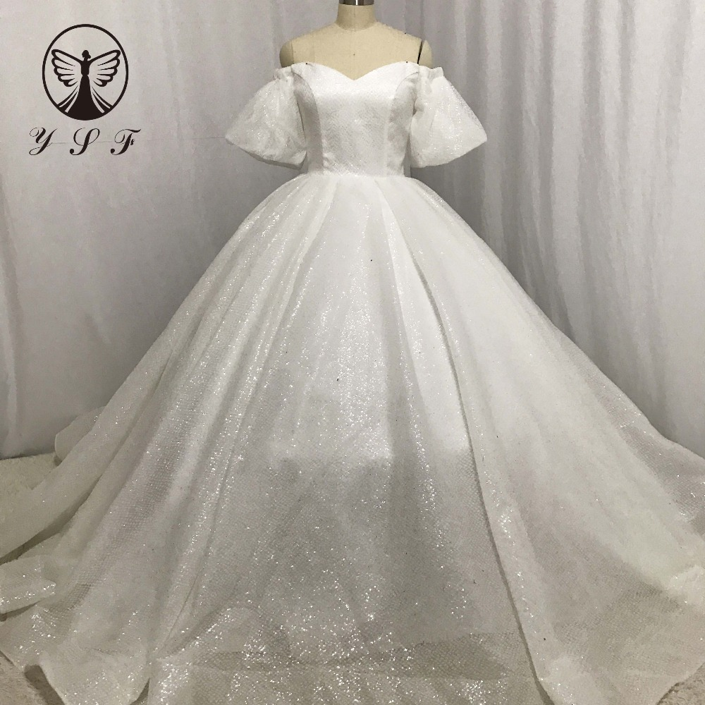 Classic Wedding Gown Off The Shoulder Sweetheart Puff