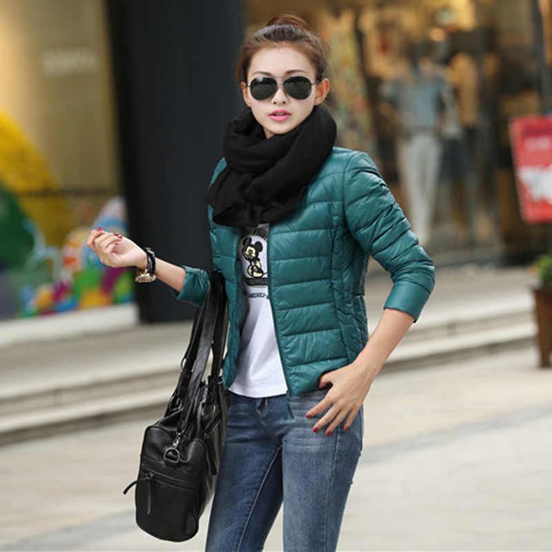 Ультра-светильник размера плюс, тонкие женские куртки 2018, зимняя короткая куртка с хлопковой подкладкой, пальто для женщин, верхняя одежда, женская одежда