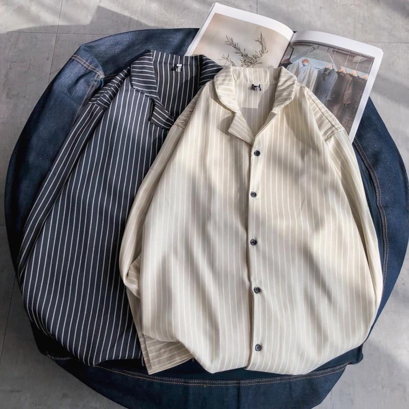 Summer New Dress Shirt Men Fashion Casual Striped Shirt Man Streetwear Wild Social Men Shirt Loose Long-sleeved Shirt M-2XL