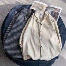 Summer New Dress Shirt Men Fashion Casual Striped Man Streetwear Wild Social Loose Long-sleeved M-2XL