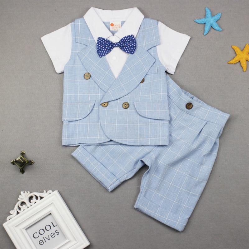 Mode bébé vêtements coton infantile été garçon ensembles bébé Gentleman 2019 nouveau-né bébé barboteuse garçons vêtements ensemble (chemise + pantalon)