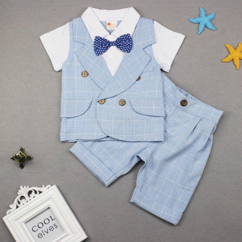 Mode bébé vêtements coton infantile été garçon ensembles bébé Gentleman 2019 nouveau-né bébé garçons vêtements ensemble (chemise + pantalon)