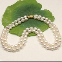 Красивая 2 ряда AAA 8-9 мм натуральная белая жемчужина Южных морей ожерелье 14 K 17-18 дюймов