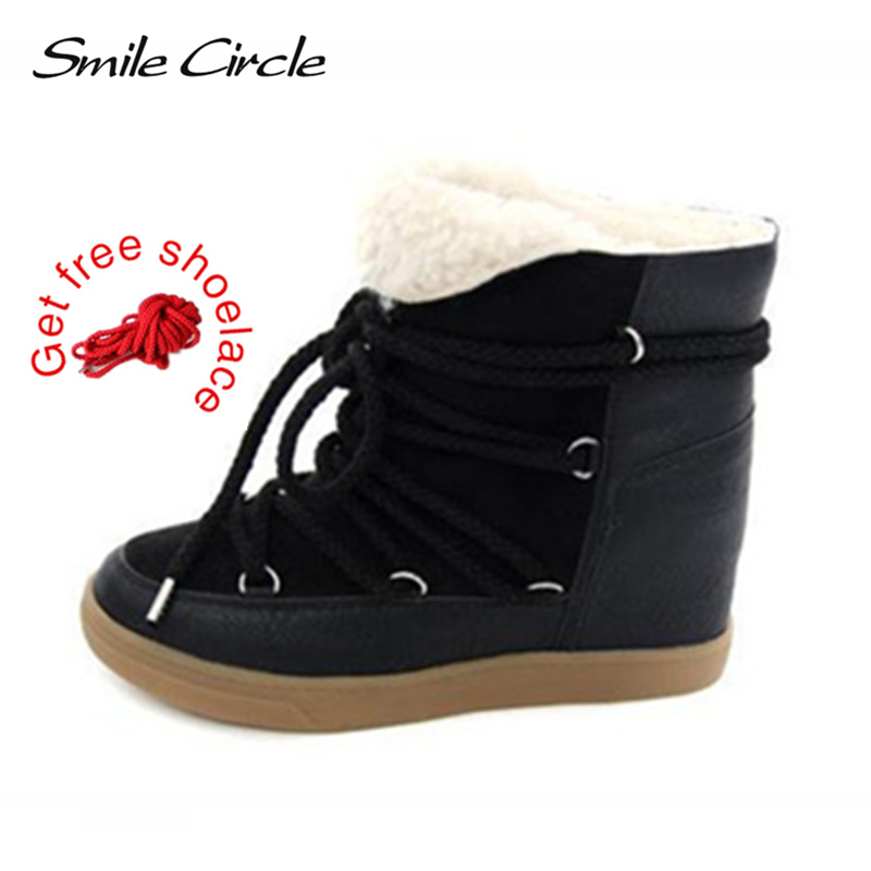 Smile Circle Winter Boots Women Shoes Hidden Wedges Boots Elevator Lace-up Casual Shoes For Women Ankle Boots Wedge sneakers tie up pompons hidden wedge snow boots